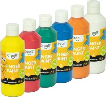 Creall vingerverf Happy, set met 6 flesjes van 250 ml in geassorteerde kleuren