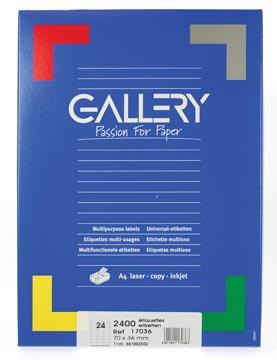 Gallery witte etiketten Ft 70 x 36 mm (b x h), rechte hoeken, doos van 2.400 etiketten