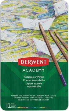 Derwent aquarelpotlood Academy , blik van 12 stuks in geassorteerde kleuren