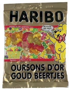 Haribo snoep goud beertjes, zak van 200 g