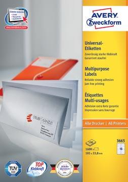 Avery Zweckform 3665, Universele etiketten, Ultragrip, wit, 100 vel, 16 per vel, 105 x 33,8 mm