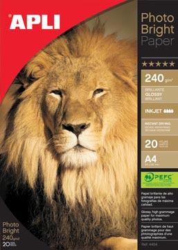 Apli fotopapier Photo Bright ft A4, 240 g, pak van 20 vel