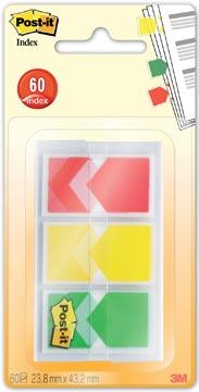 Post-it Index Pijltjes, ft 23,8 x 43,2 mm, blister van 3 x 20 tabs, geel, rood, groen
