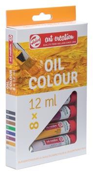 Talens Art Creation olieverf tube van 12 ml, set van 8 tubes in geassorteerde kleuren