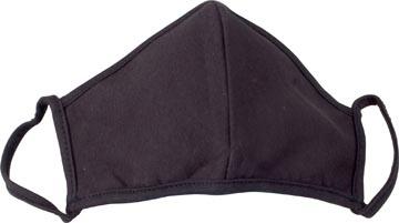 Wasbaar mondmasker, uni zwart motief, maat: universeel, pak van 5 stuks