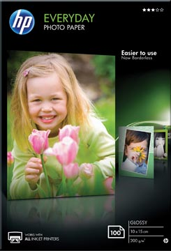 HP Everyday fotopapier ft 10 x 15 cm, 200 g, pak van 100 vel, glanzend