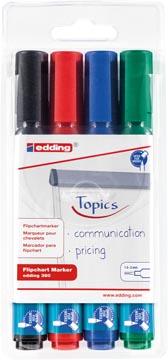 Edding Merkstift Flipchart e-380, blister met 4 stuks in geassorteerde kleuren